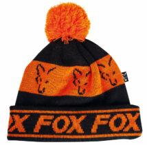 FOX Black & Orange Lined Bobble FEKETE/NARANCS kötött sapka